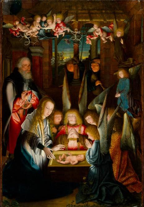 nativité de Jan Joest ou un ange et un berger porte les traits marqués par la trisomie 21